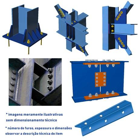 Chapa de base engastada de pilar perfurada para perfil / viga I e W para  250 X 38,5