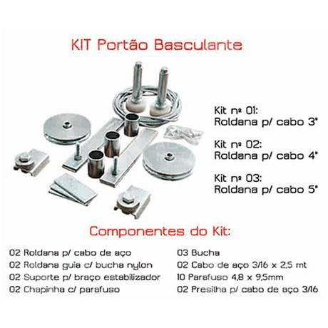 Kit N. 3 P/portao Basculante, Roldana 5, Guia 60mm